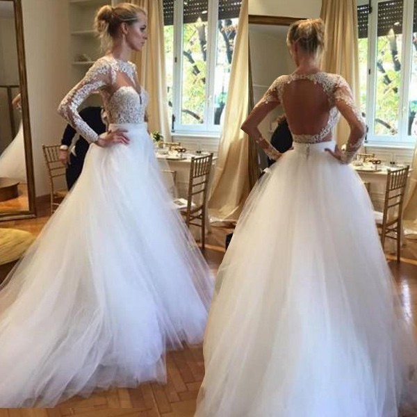 Dramatic White Open Back Long Bridal's Wedding Dress