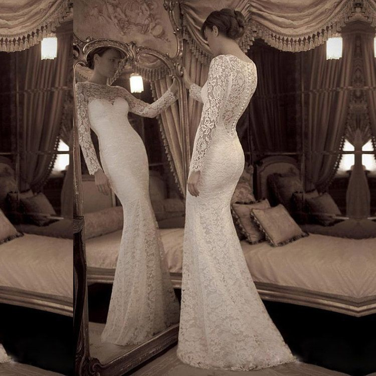 Elegant Vintage Sheath Lace Wedding Dress with Long Sleeves