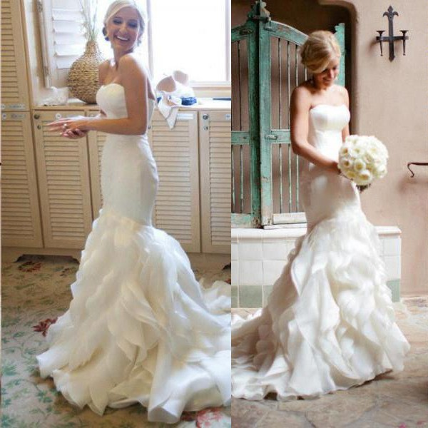 Simple Mermaid Sweetheart Wedding Dress with Ruched