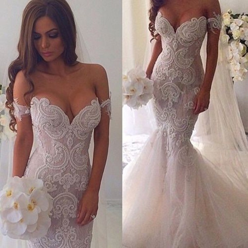 Glamour Off-the-Shoulder Mermaid Wedding Dress with Appliques