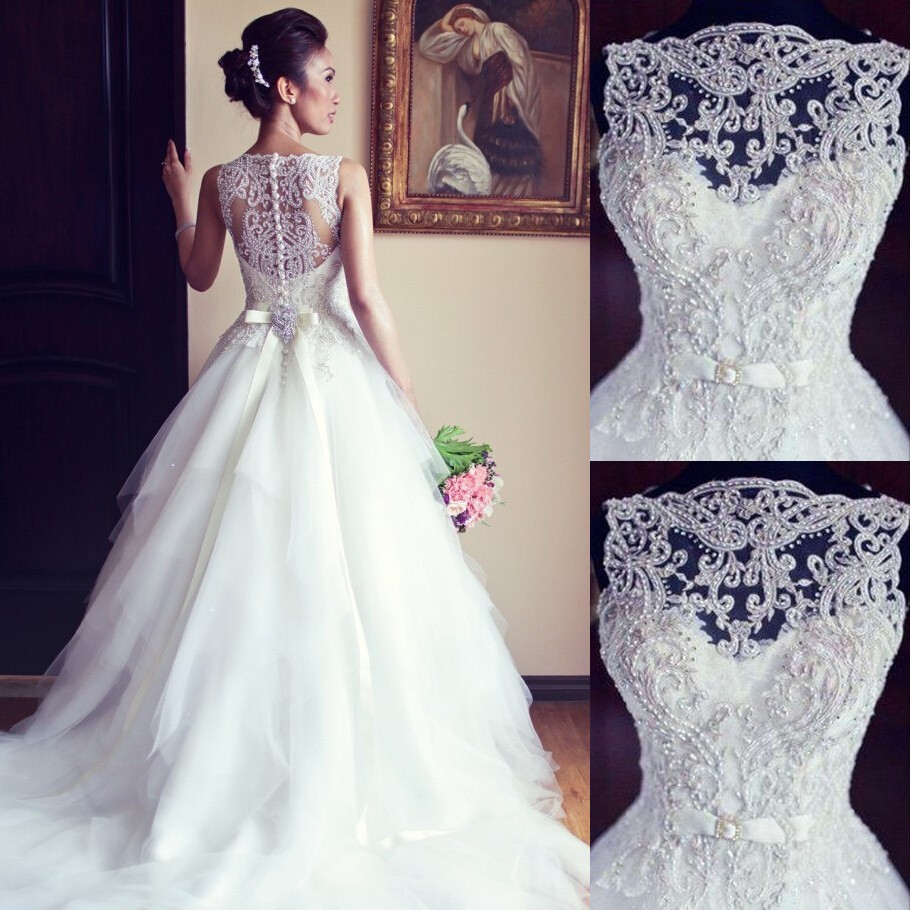 Elegant Beaded Wedding Dresses/Bridal Gown - Bateau Ball Gown Dress with Bowknot