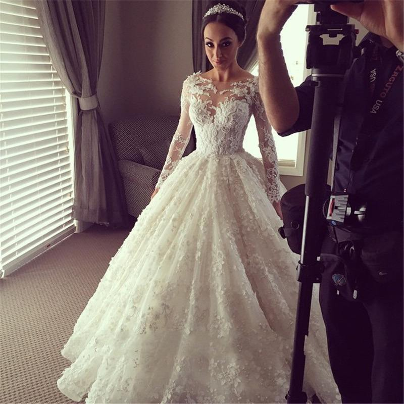 Vintage Lace Wedding Dresses/Bridal Gown with Long Sleeves