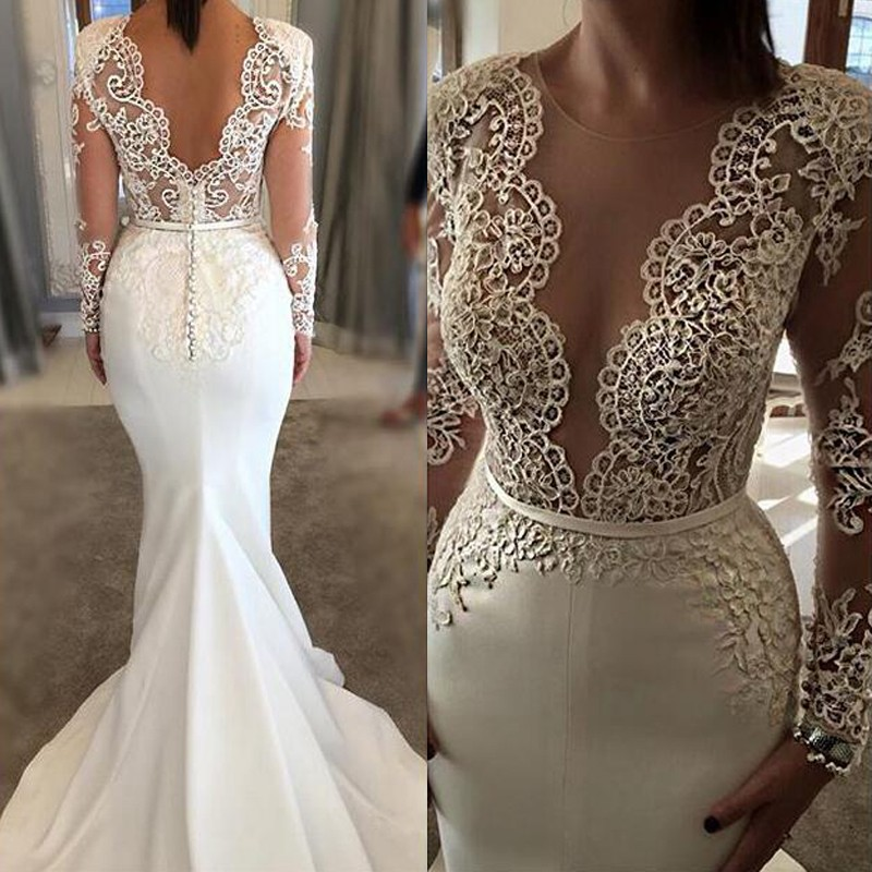 Fabulous Jewel Long Sleeves Sweep Train Wedding Dress with Lace Top Illusion Back