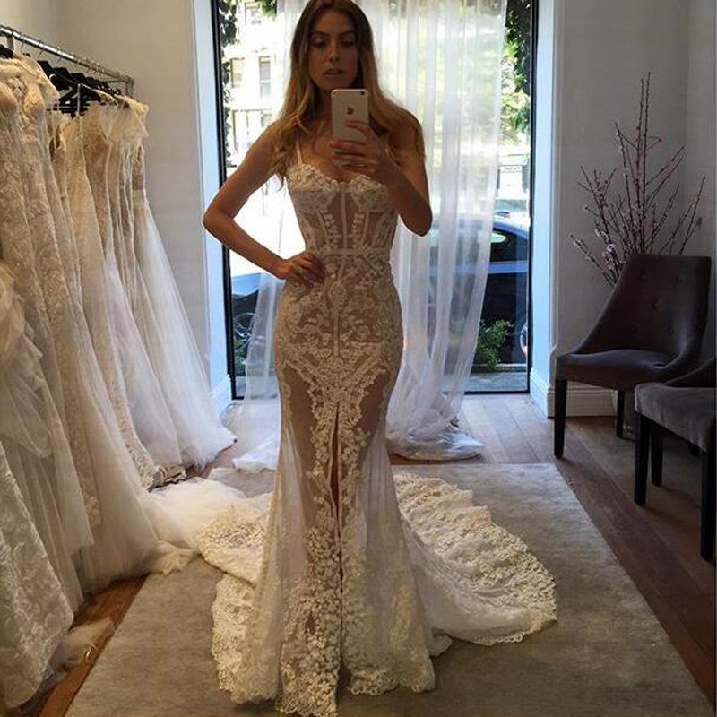 Sexy Sweetheart Court Train Illusion Sheath Lace Wedding Dress with Legslit