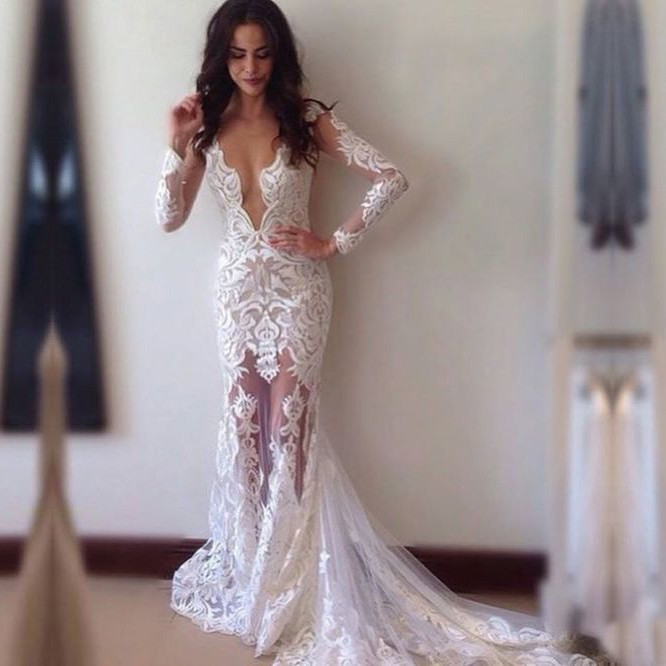 Sexy Sheath Lace Wedding Dress Bridal Gown with Court Train Deep V-neck Long Sleeves
