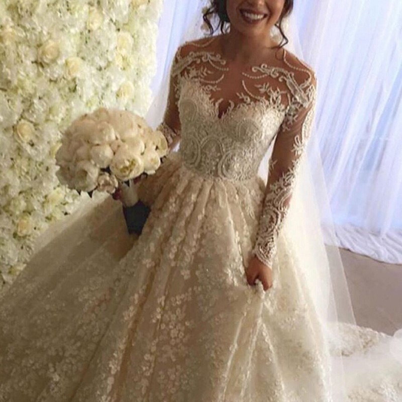 Ball Gown Wedding Dress with Long Sleeves Court Train