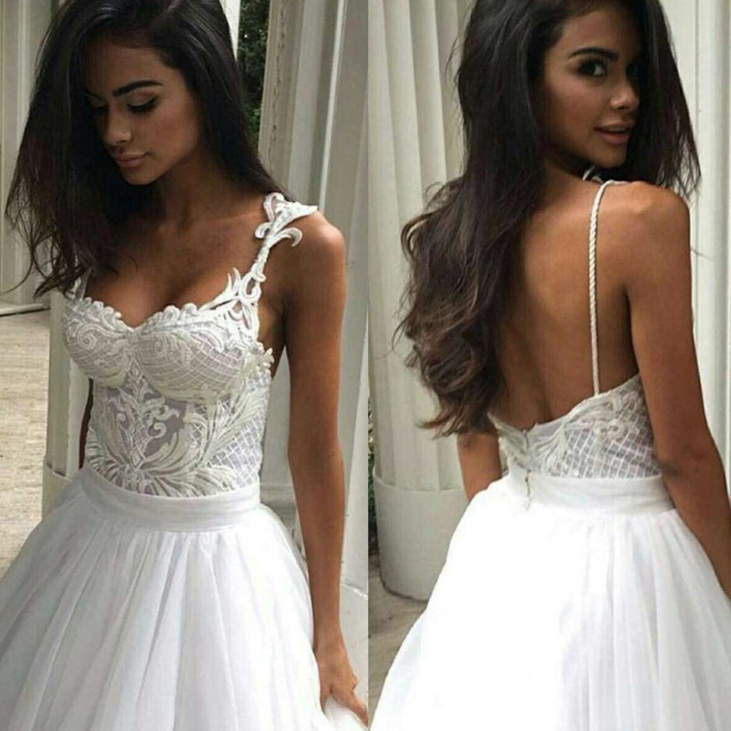 Ball Gown Wedding Dress with Sweetheart Backless Sweep Train