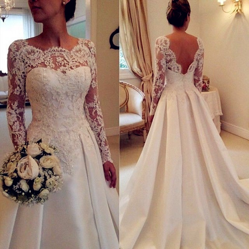 A-Line Bateau Long Sleeves Satin Wedding Dress with Lace Pleats