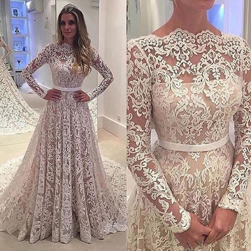 Glamorous A-Line Bateau Long Sleeves Lace Court Train Wedding Dress with Sash