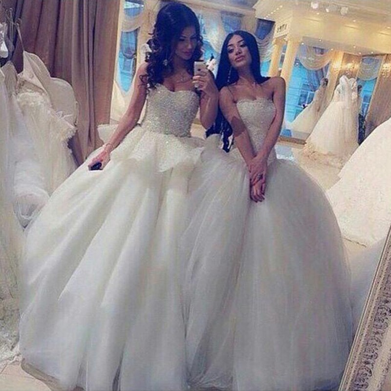 Modern Ball Gown Strapless Sleeveless Beading Wedding Dress with Patchwork