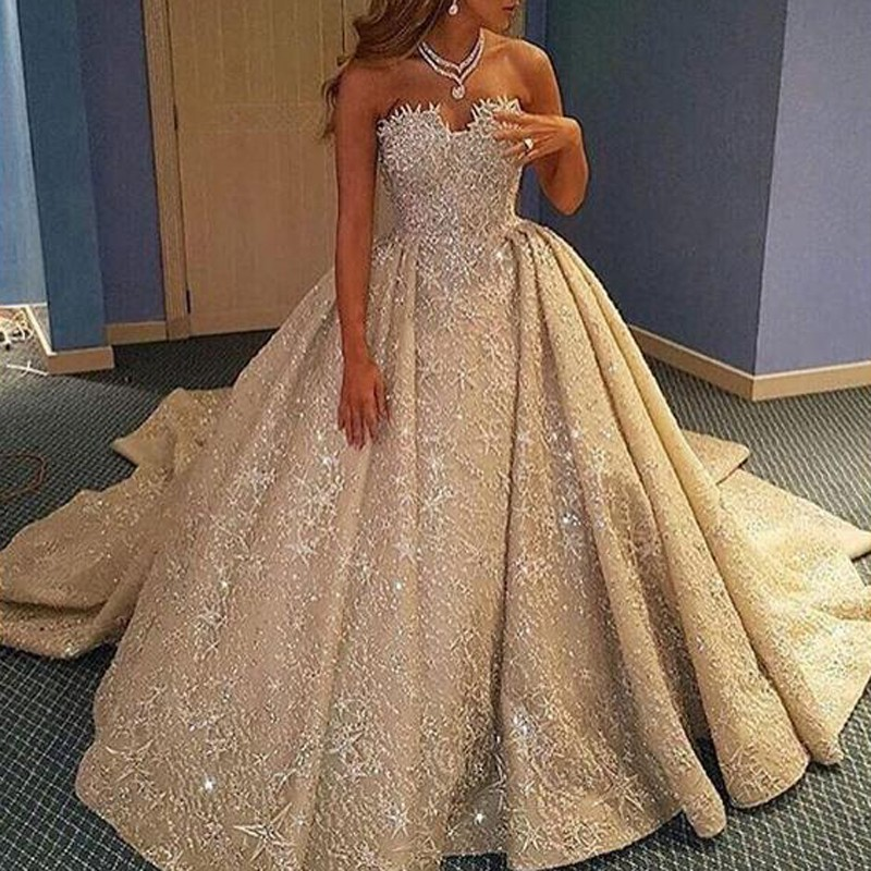 A-Line Sweetheart Court Train Champagne Lace Wedding Dress