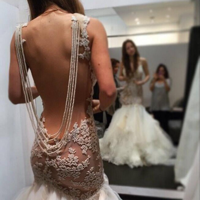 Glamorous Jewel Sleeveless Appliques Pearl Mermaid Wedding Dress with Illusion Back