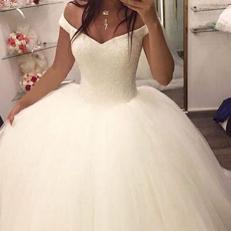 Ball Gown Off-the-Shoulder Sleeveless Sweep Train Wedding Dress with Sequins