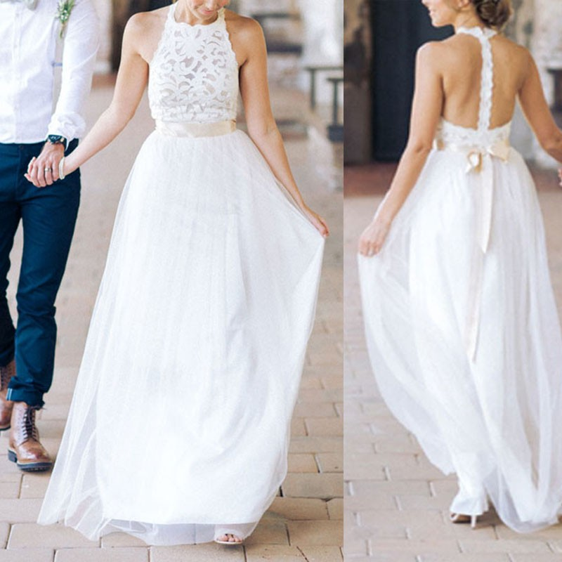Simple White A-Line Halter Sleeveless Lace Long Bridesmaid Dress/Wedding Dress with Sash