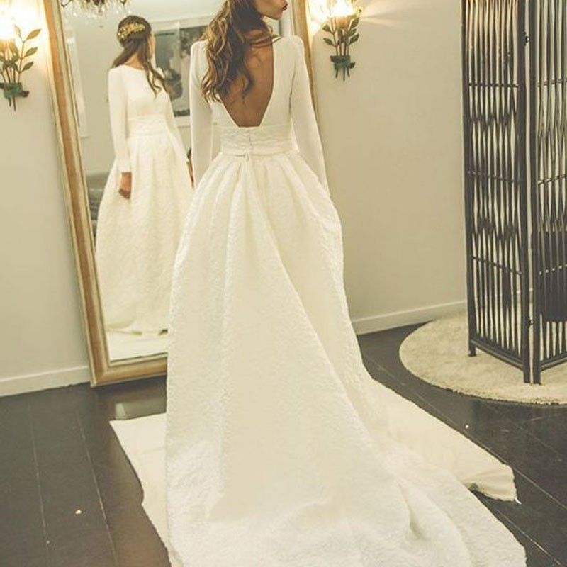 Decent Pleated Wedding Dress - Bateau Long Sleeves Court Train Backless