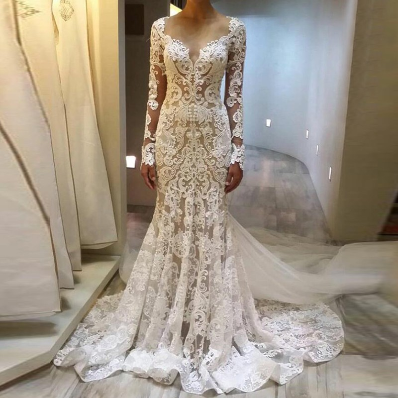 Fabulous Mermaid Wedding Dress - Scoop Neck Long Sleeves Sweep Train Lace