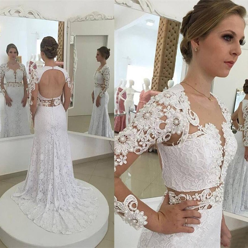 Modern Sheath Long Lace Wedding Dress - Scoop Long Sleeves Open Back with Pearls