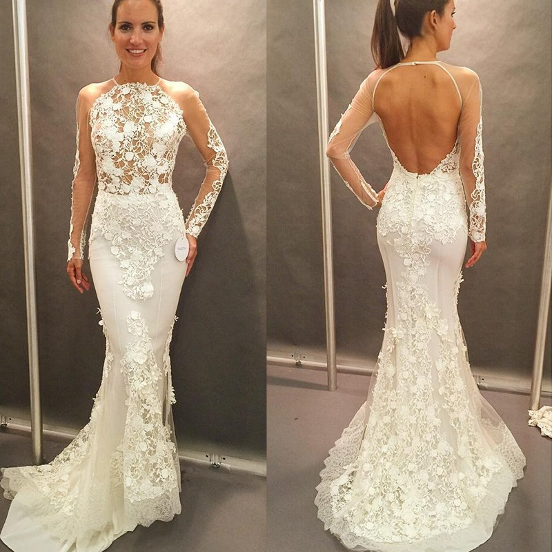 Honorable Mermaid Long Wedding Dress - Crew Neck Long Sleeves Open Back with Lace