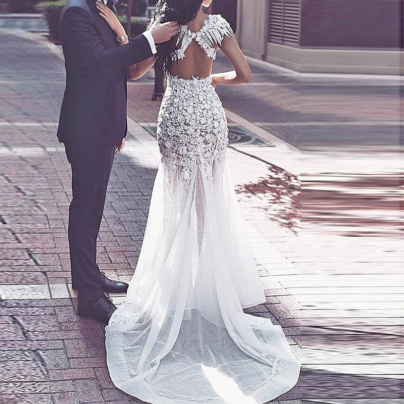 Mermaid Open Back Wedding Dress - Jewel Cap Sleeves Illusion Sweep Train with Appliques Beading