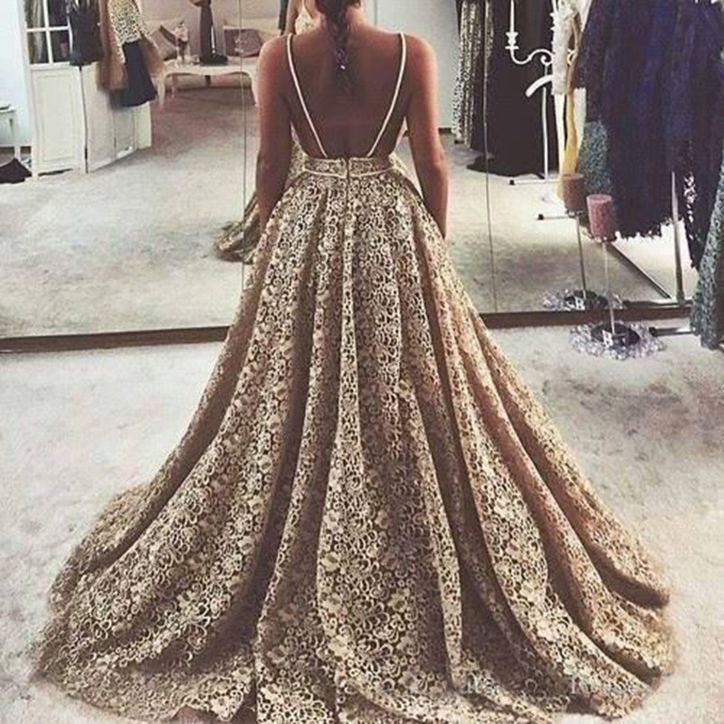 A-line Lace Wedding Dress - Champagne Gold Backless V-neck Sweep Train