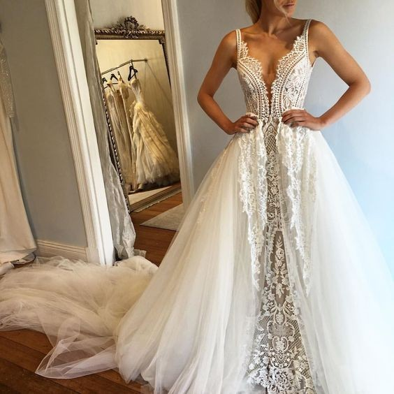 A-Line Deep V-neck Chapel Train Wedding Dress with Lace