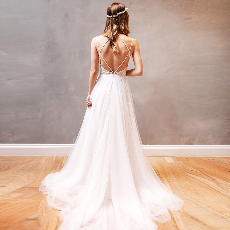 A-line Spaghetti Straps Backless Sweep Train Wedding Dress with Beading Lace
