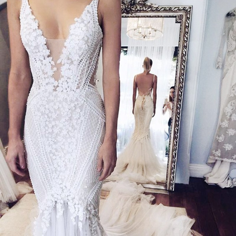 Mermaid Style Straps Chapel Train Wedding Dress Backless with Lace