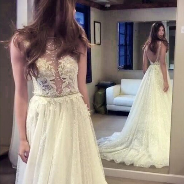A-line Bateau Backless Sequined Wedding Dress with Pearls Appliques