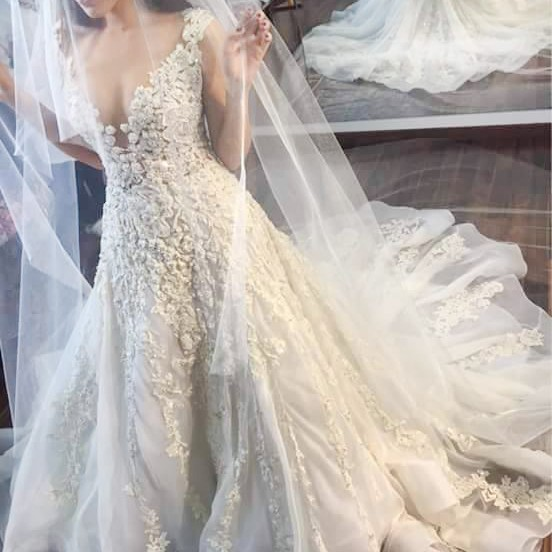 A-line Illusion Jewel Court Train Wedding Dress with Lace Appliques