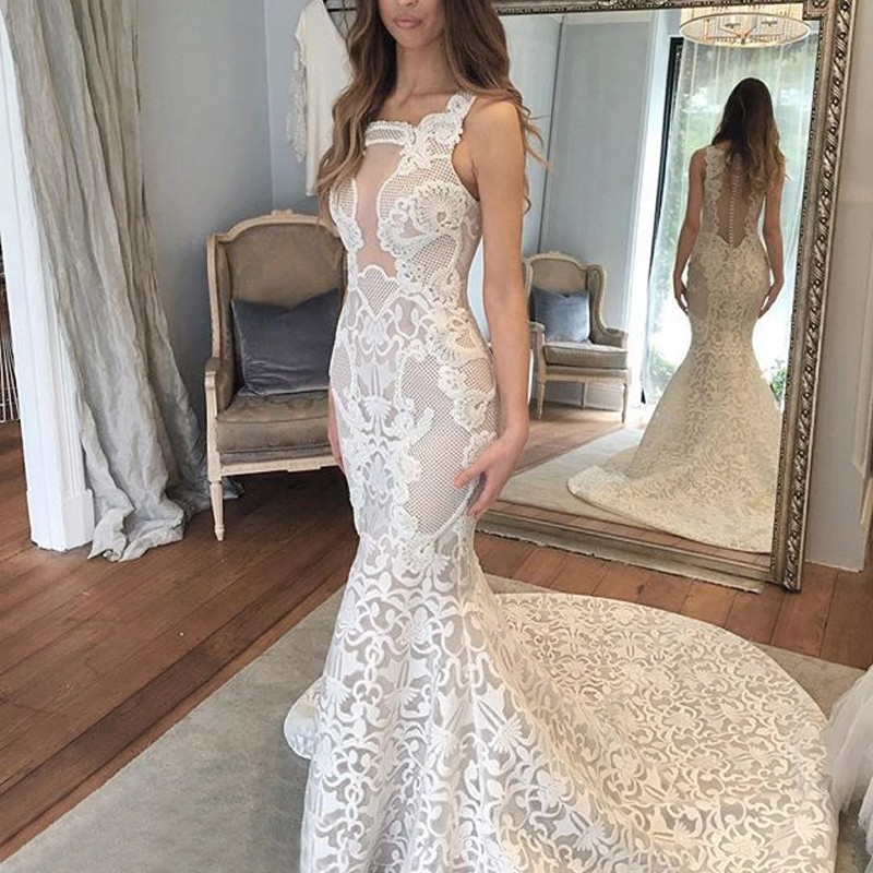 Mermaid Style Square Neck Court Train Lace Wedding Dress