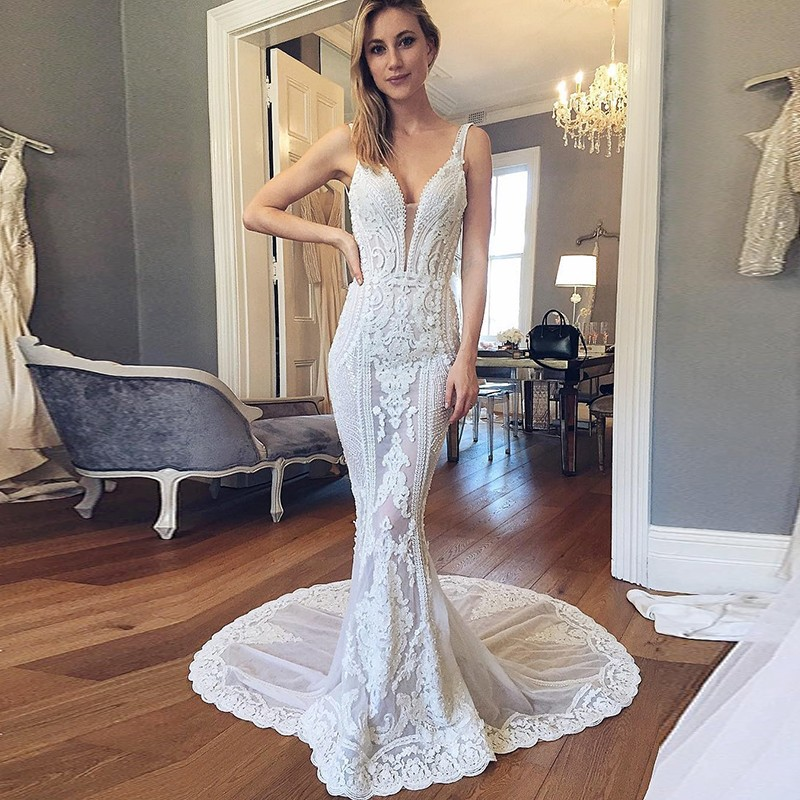 Mermaid Deep V-neck Backless Court Train Wedding Dress with Lace Appliques