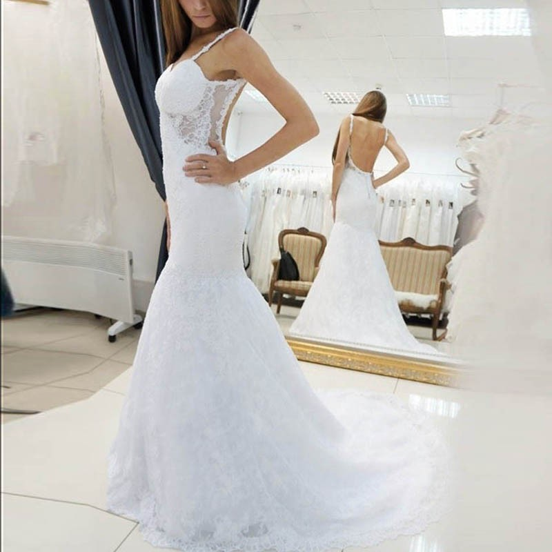 Mermaid Backless Straps Sweep Train Lace Wedding Dress with Appliques