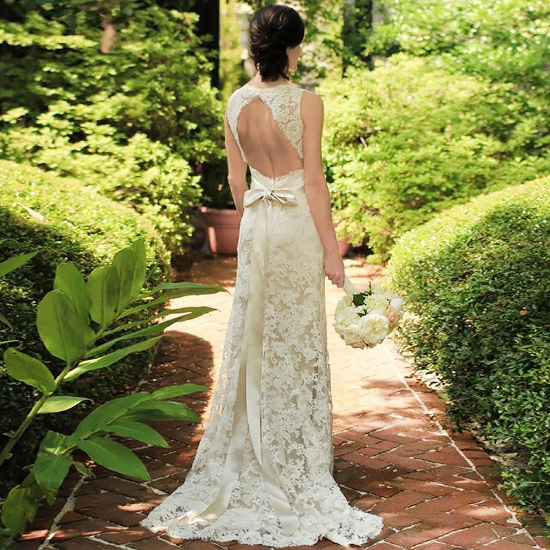 Sheath Scoop Sweep Train Open Back Lace Wedding Dress with Sash