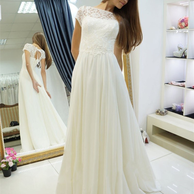 A-Line Bateau Open Back Cap Sleeves Sweep Train Wedding Dress with Lace