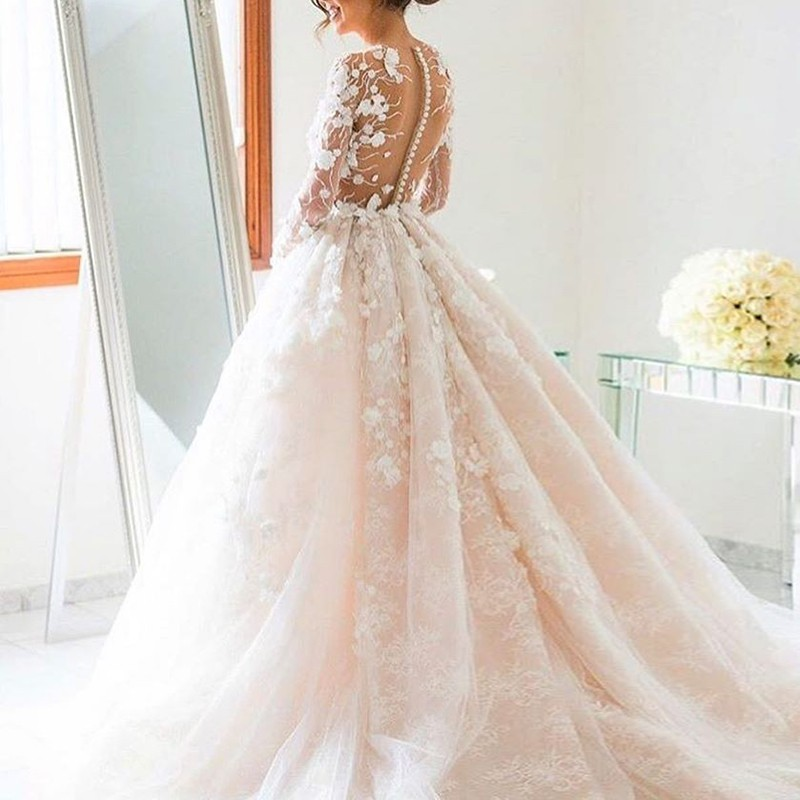 Ball Gown Jewel Long Illusion Back Pearl Pink Tulle Wedding Dress With Lace Dress3347 Wedding Dresses,Dress To Wear To A Wedding In November