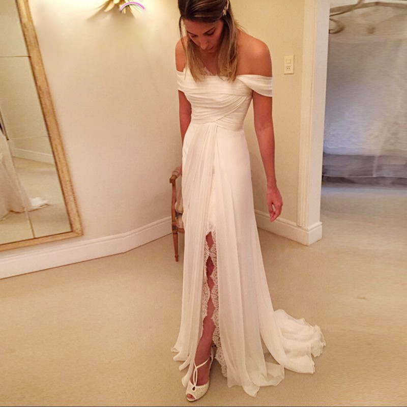 A-Line Off-the-Shoulder Long Chiffon Beach Wedding Dress with Lace Split