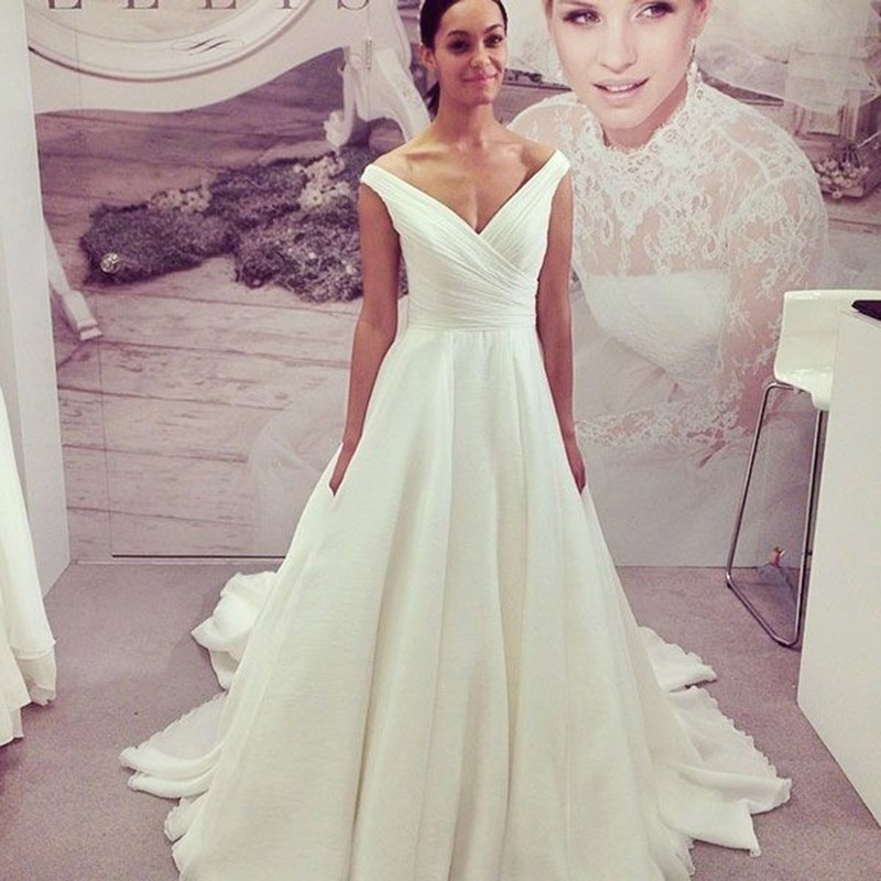 A-Line Off-the-Shoulder Cap Sleeves Court Train Chiffon Wedding Dress