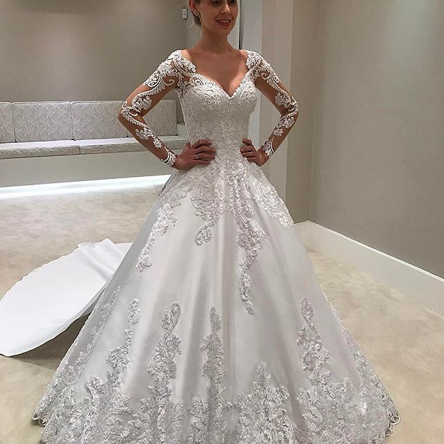 Ball Gown Illusion Bateau Court Train Long Sleeves Satin Wedding Dress with Appliques