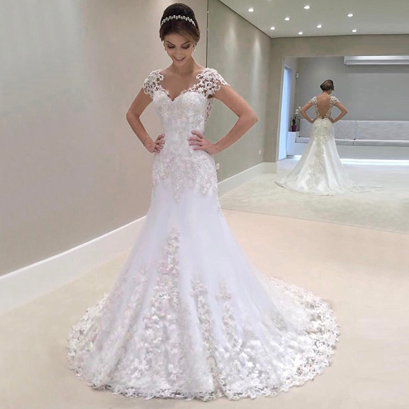 Sheath Illusion Bateau Sweep Train Wedding Dress with Beading Appliques