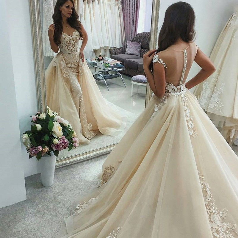 Sheath Illusion Back Light Champagne Wedding Dress with Appliques Overskirt