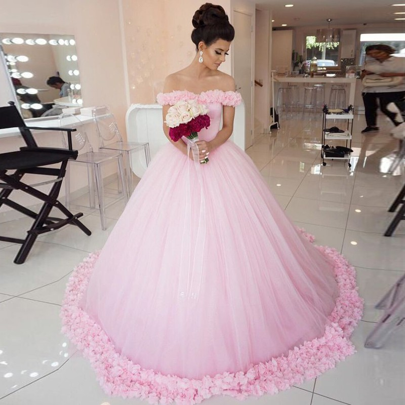 Ball Gown Off-the-Shoulder Court Train Pink Tulle Wedding Dress with Flowers