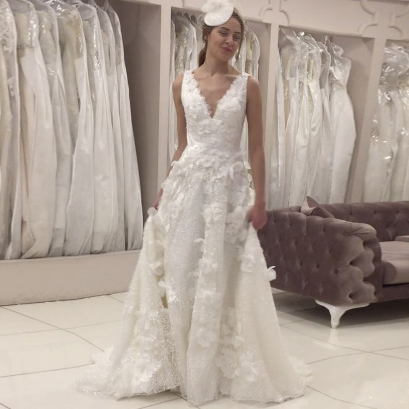 A-Line V-Neck Sweep Train Ivory Lace Wedding Dress with Appliques