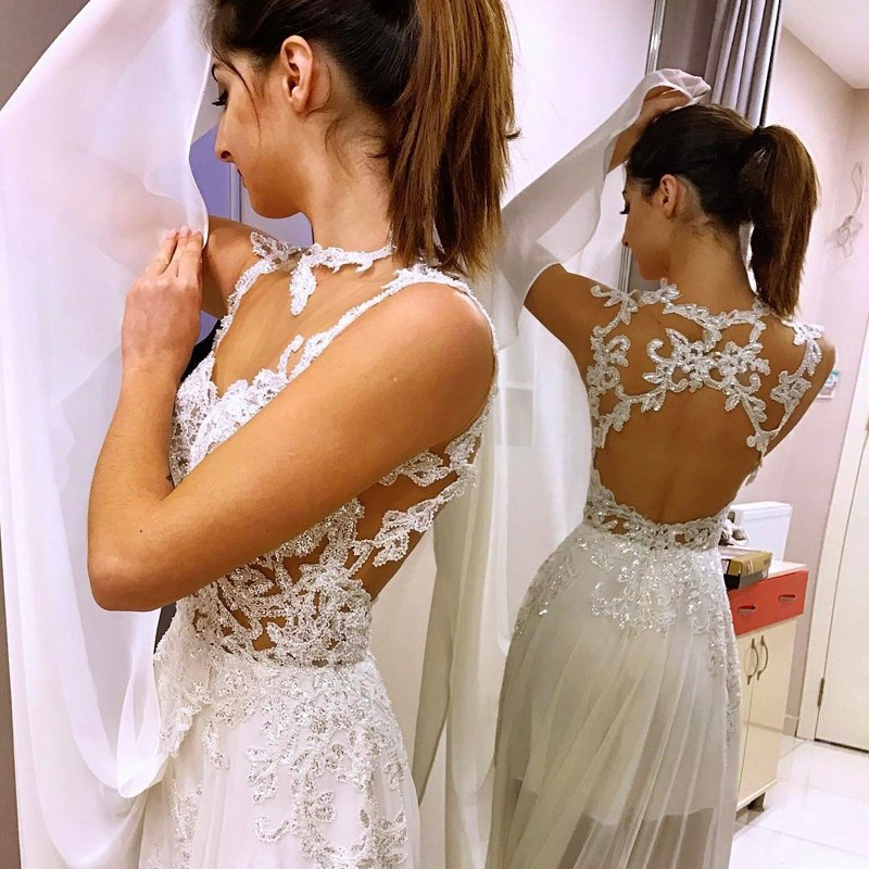 A-Line Illusion Jewel Open Back Chiffon Wedding Dress with Appliques