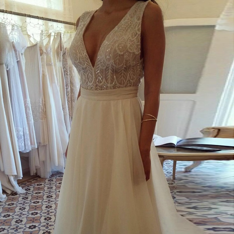A-Line Deep V-Neck Backless Ivory Chiffon Wedding Dress with Lace