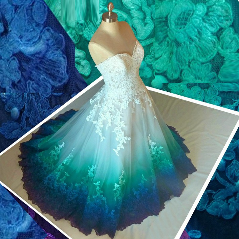 A-Line Sweetheart Sweep Train Ombre Tulle Wedding Dress with Appliques