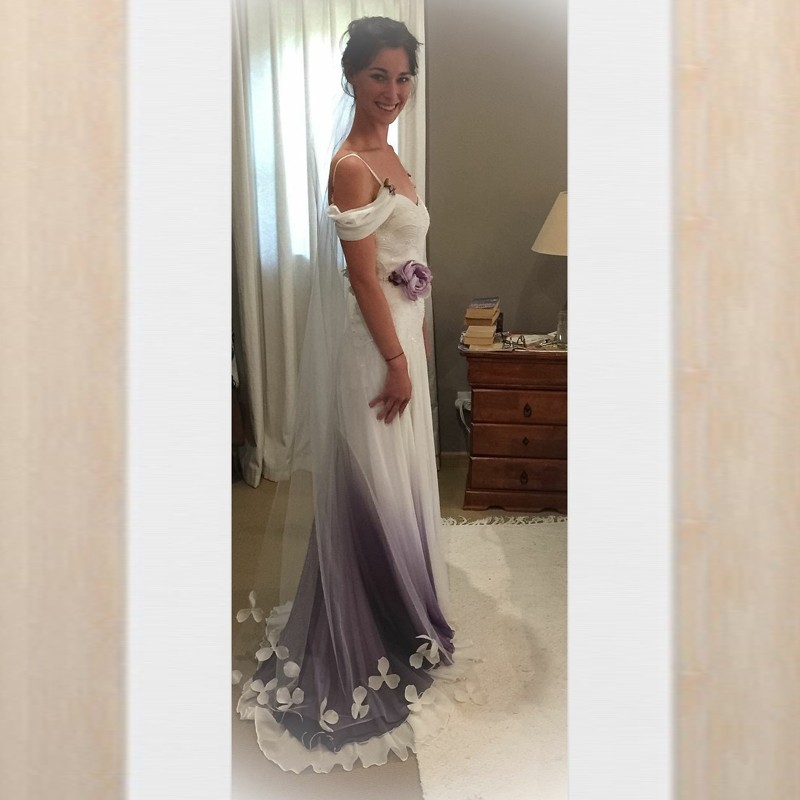 A-Line Spaghetti Straps Sweep Train Ombre Grey Wedding Dress with Flowers