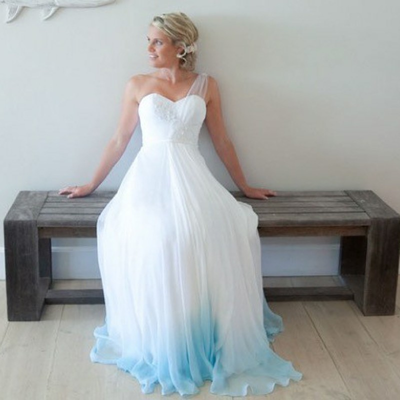 A-Line One-Shoulder Floor-Length Ombre Chiffon Wedding Dress with Lace