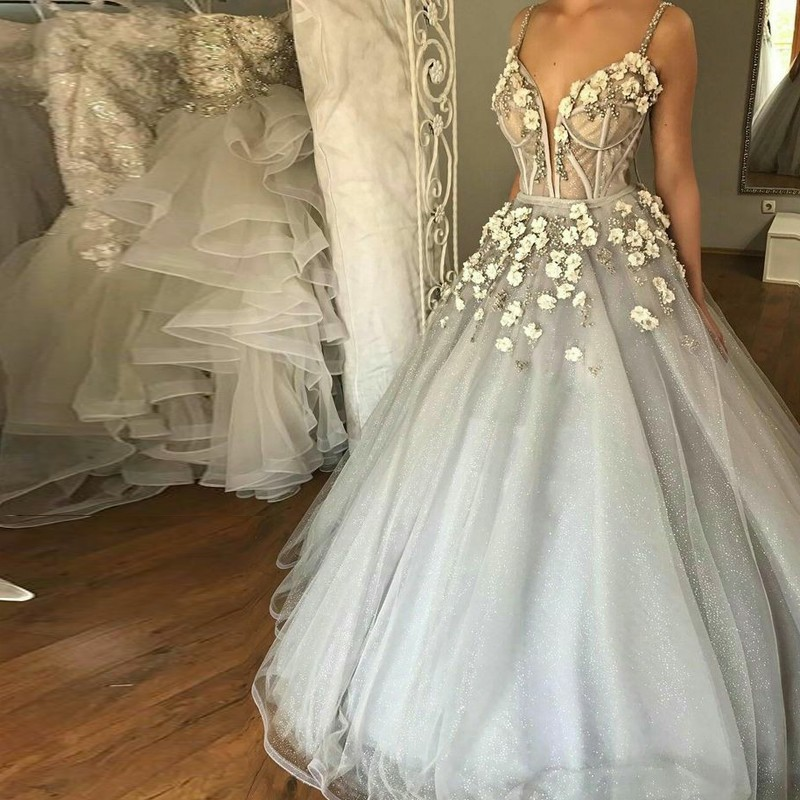 Ball Gown Straps Floor-Length Grey Sequined Wedding Dress with Appliques