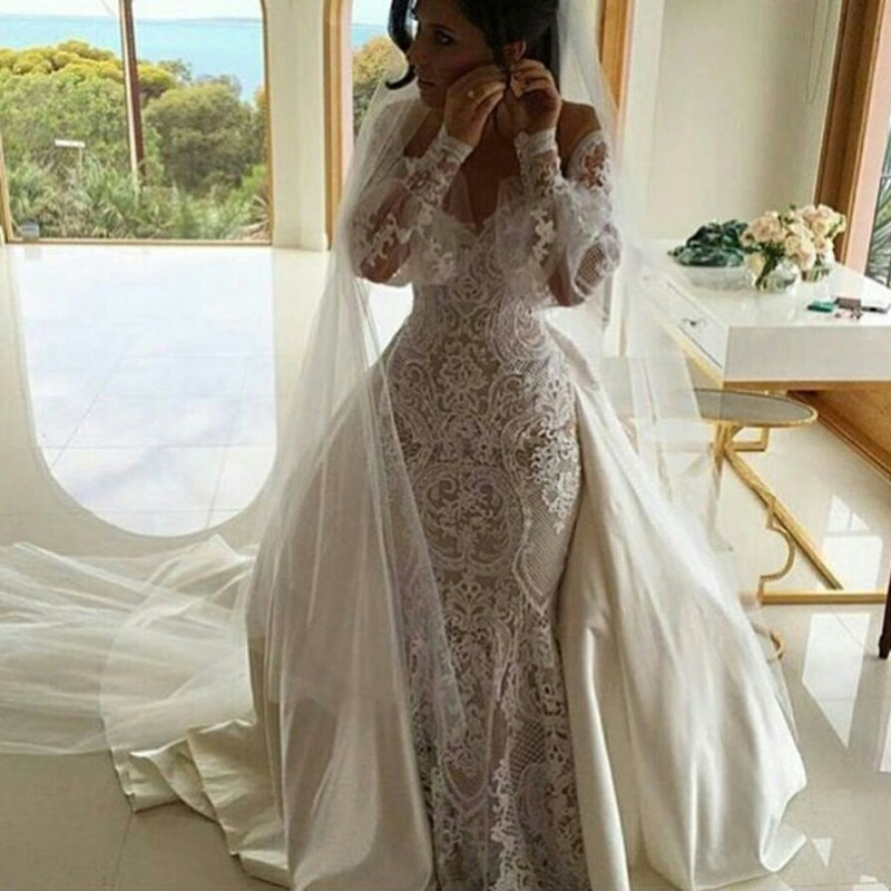 Mermaid Off-the-Shoulder Long Sleeves Lace Wedding Dress with Detachable Train