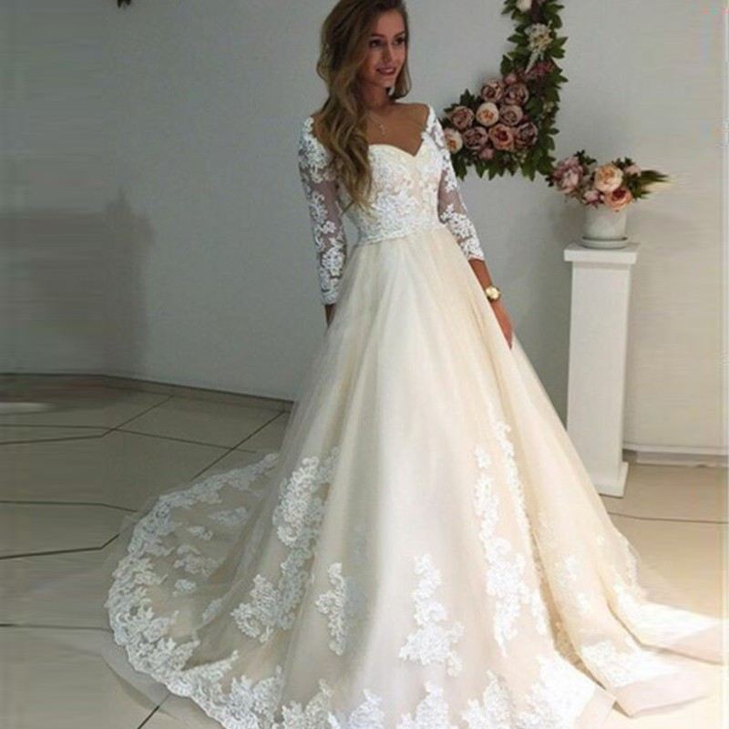 A-Line Off-the-Shoulder Long Sleeves Ivory Tulle Wedding Dress with Appliques